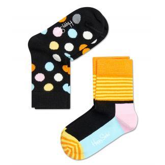 2-pack Happy Socks Kids Big Dot sokken - zwart