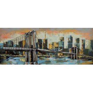 3D Metaal Schilderij - Brooklyn Bridge
