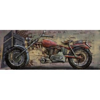 3D Metaal Schilderij - Chopper motorfiets