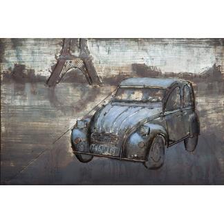 3D Metaal Schilderij - Citroën 2CV bij Eiffeltoren