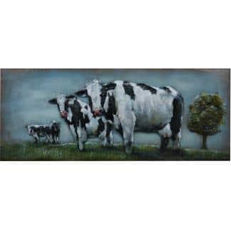 3D Metaal Schilderij - Koeien in de wei