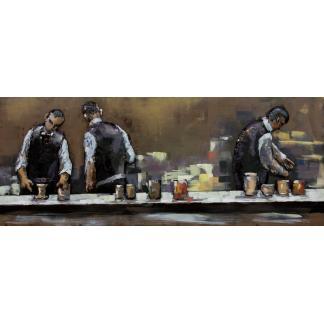 3D Metaal Schilderij - Achter de bar