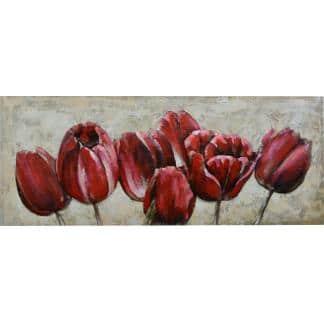 3D Metaal Schilderij - Rode Tulpen