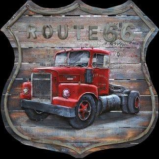 3D Metaal Schilderij - Route 66: American Truck