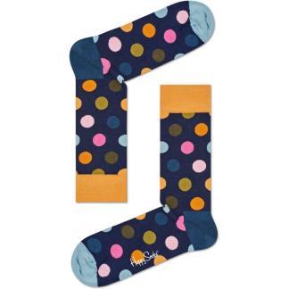 Happy Socks Big Dot Sokken, Donker Blauw/Oranje