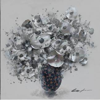 Bloemenvaas Abstract - Canvas schilderij - Olieverf