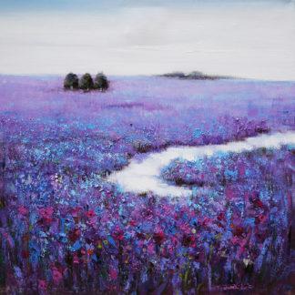 Paars Bloemenveld - Canvas schilderij - Olieverf