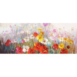 Bloemenveld - Canvas schilderij - Olieverf
