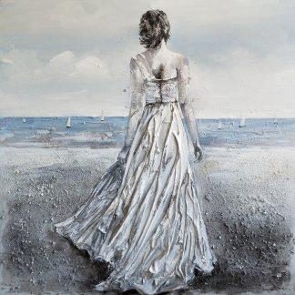 Bruid op Strand - Canvas schilderij - Olieverf