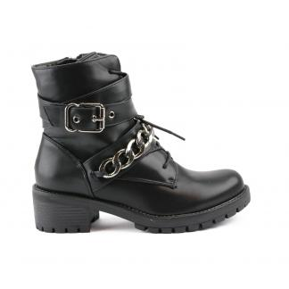 Chained Buckle Boots, Zwart