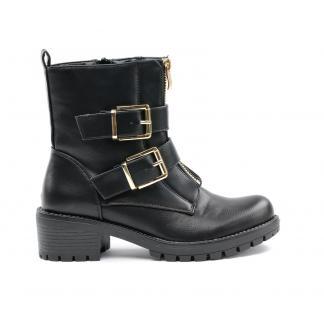 Double Buckle Boots Gold, Zwart