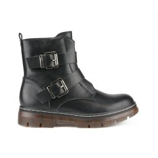 Double Buckle Boots Met Plateauzool, Zwart