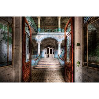Glas schilderij Verlaten gebouw