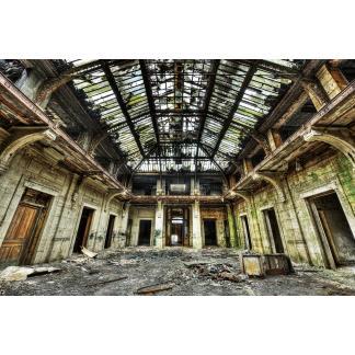 Glas schilderij Vervallen gebouw