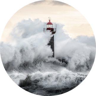 Glasschilderij Vuurtoren tsunami