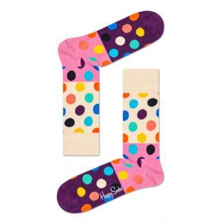 Happy Socks Big Dot Block Sokken, Wit/Roze/Paars