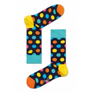 Happy Socks Big Dot Sokken, Donkerblauw/Geel
