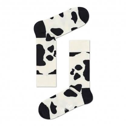 Happy Socks Cow Sokken, Wit/Zwart