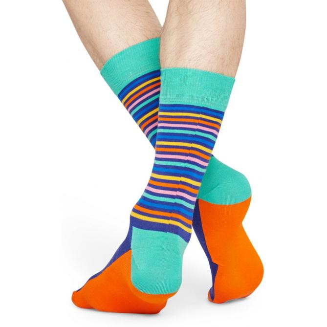 Happy Socks Easter Half Stripe Sokken, Turquoise