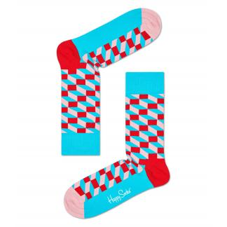 Happy Socks Filled Optic Sokken, Rood/Turquoise