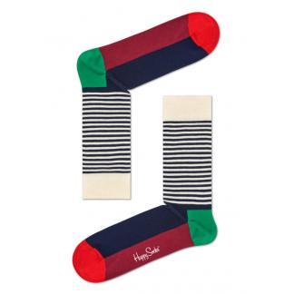 Happy Socks Half Stripe Sokken, Wit/Blauw/Rood