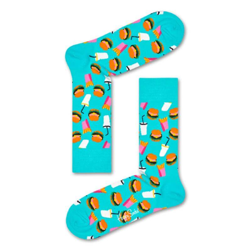 Happy Socks Hamburger Sokken, Turquoise