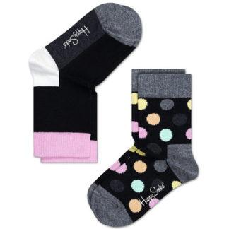 Happy Socks Kids Big Dot Sokken, Zwart/Grijs/Multi