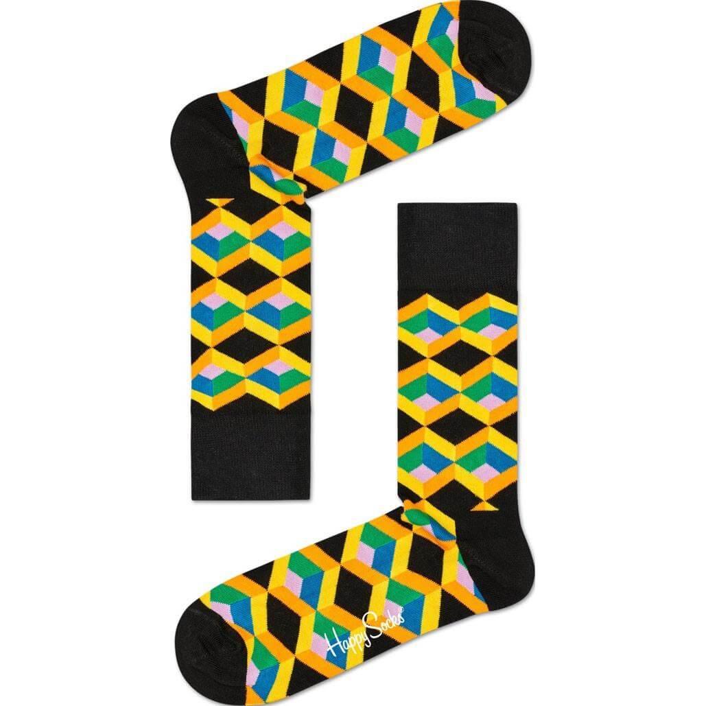 Happy Socks Optic Square Sokken, Geel/Groen