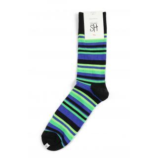 Happy Socks Stripe sokken - blauw/groen gestreept