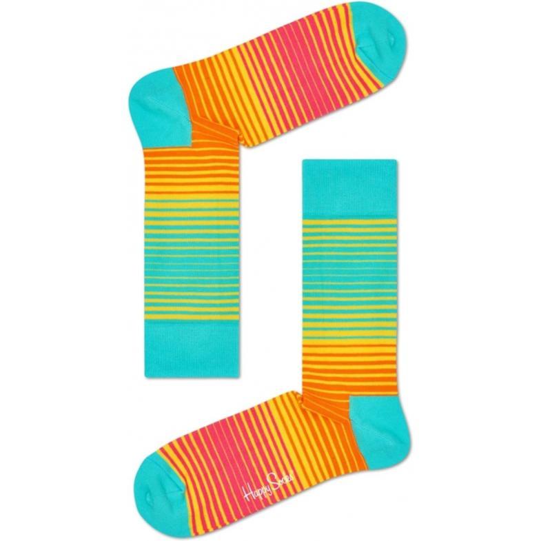 Happy Socks Sunrise Stripe sokken - turquoise