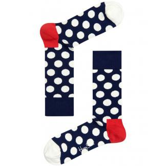 Happy Socks Big Dot Sokken, Donkerblauw/Wit