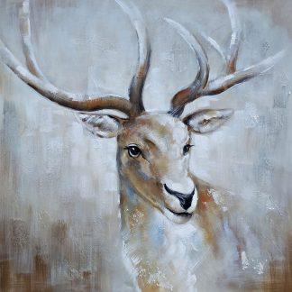 Hert Portret - Canvas schilderij - Olieverf