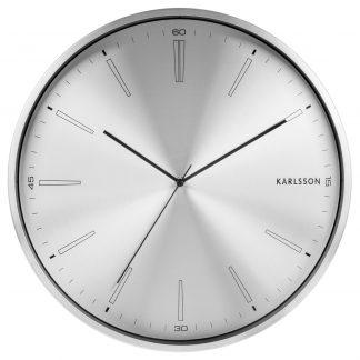 Karlsson Distinct wandklok - Zilver, Geborsteld Staal