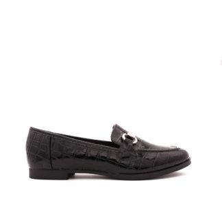 La Croco Loafers, Zwart Lak