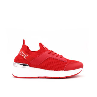 Love Fashion Stretch Knit Sock Sneakers, Rood