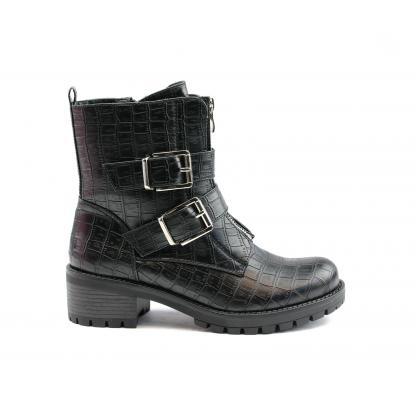 Double Buckle Boots Croco