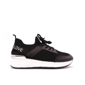 Love Fashion Stretch Knit Sock Sneakers, Zwart