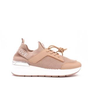 Love Fashion Stretch Knit Sock Sneakers, Beige