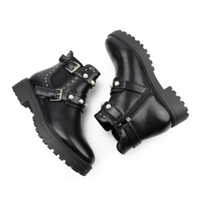 Low Cut Biker Boots - met studs en parels