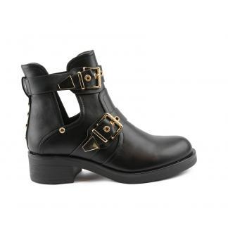 Moda Gold, Cut Out Boots, Zwart