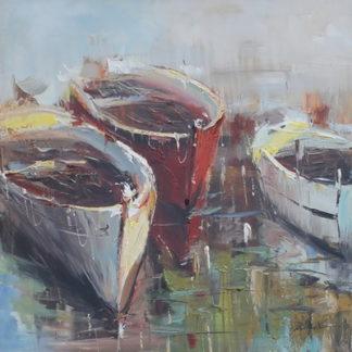 Roeiboten - Canvas schilderij - Olieverf