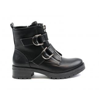 Rounded Buckle biker boots - zwart