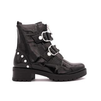 Rounded Buckle Boots Met Parels, Zwart Lak
