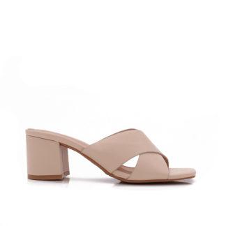 Sandalette Met Blokhak, Beige
