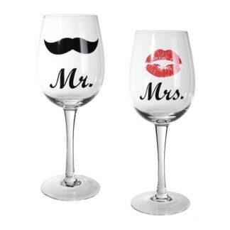 Set van 2 wijnglazen: Mr. & Mrs.