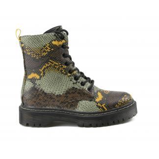 Snakeskin Biker Boots - groen