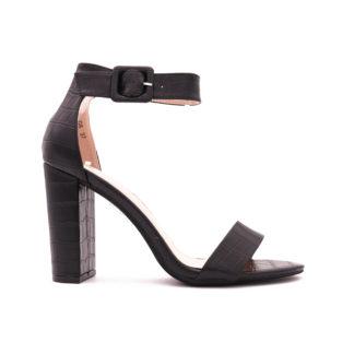 Sandalette Met Blokhak, Zwart Croco