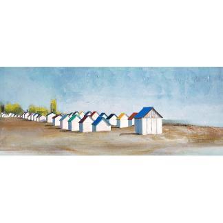 Strandhuisjes - Canvas schilderij - Olieverf