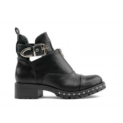 Studded Cut Out Buckle Belt Boots