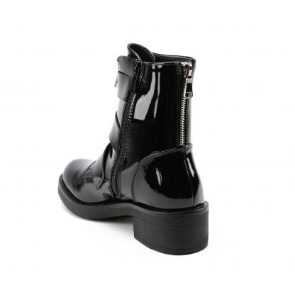 Triple Buckle Biker Boots - zwart gelakt